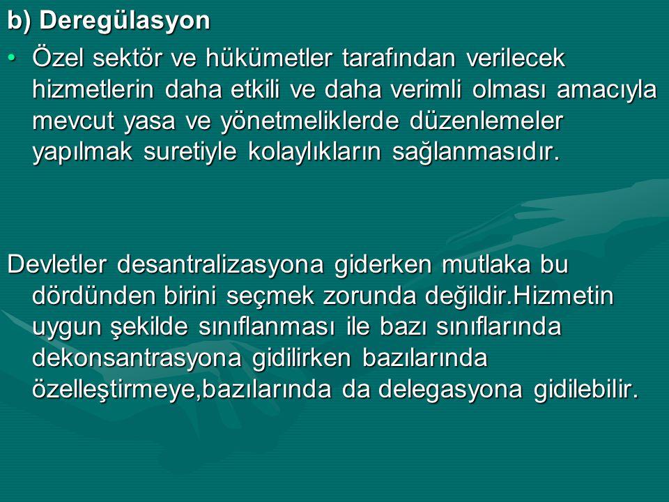 b) Deregülasyon Özel sektör ve hükümetler tarafından verilecek hizmetlerin daha etkili ve daha verimli olması amacıyla mevcut yasa ve yönetmeliklerde