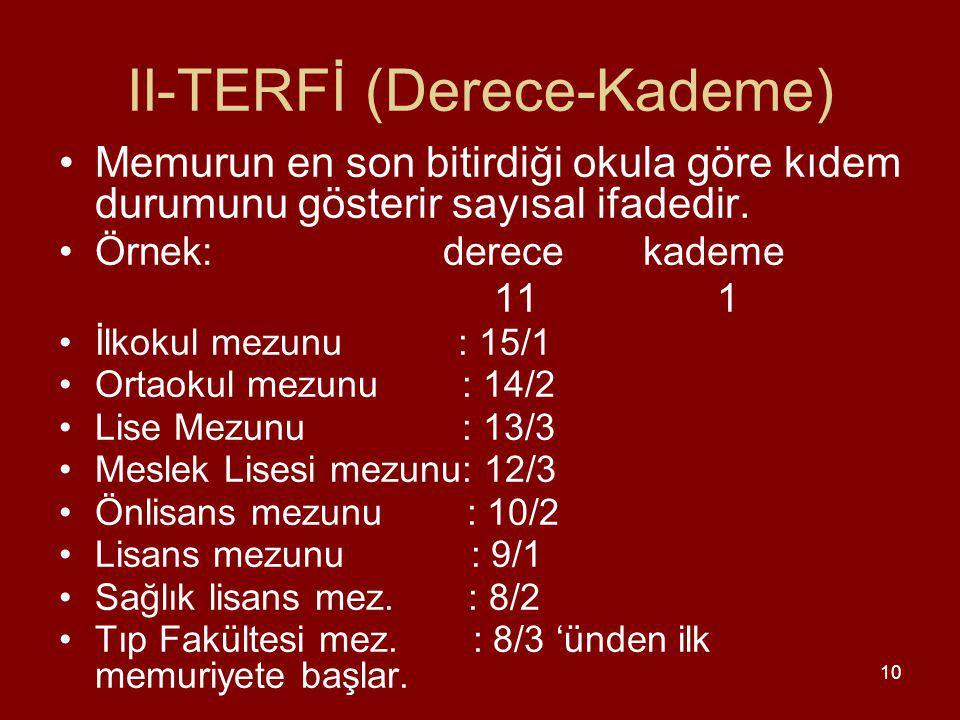 10 II-TERFİ (Derece-Kademe) Memurun en son bitirdiği okula göre kıdem durumunu gösterir sayısal ifadedir.