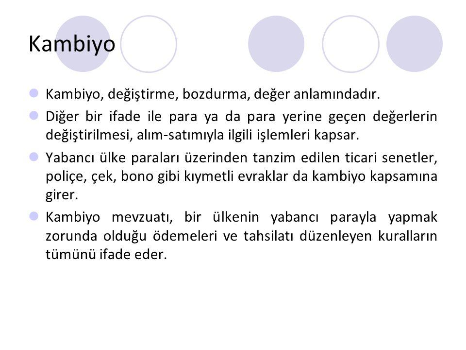Kambiyo Kambiyo, değiştirme, bozdurma, değer anlamındadır. Diğer bir ifade ile para ya da para yerine geçen değerlerin değiştirilmesi, alım-satımıyla