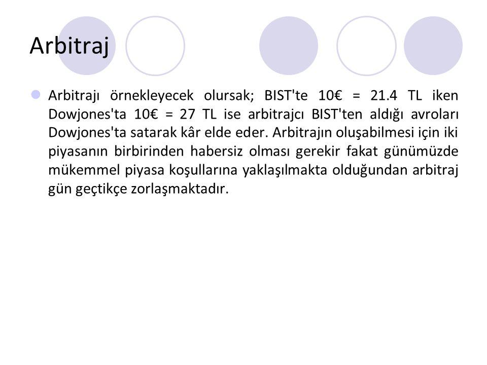Arbitraj Arbitrajı örnekleyecek olursak; BIST'te 10€ = 21.4 TL iken Dowjones'ta 10€ = 27 TL ise arbitrajcı BIST'ten aldığı avroları Dowjones'ta satara