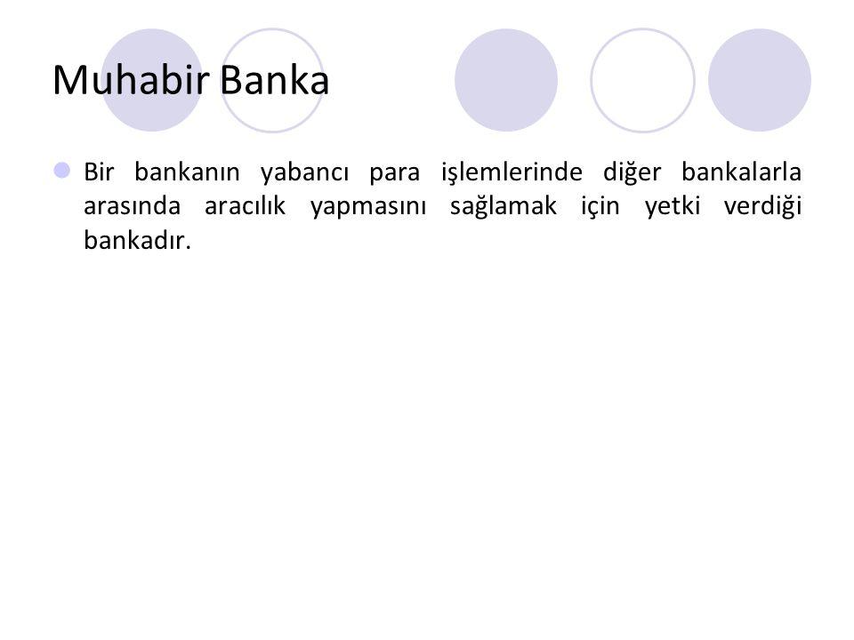 Muhabir Banka Bir bankanın yabancı para işlemlerinde diğer bankalarla arasında aracılık yapmasını sağlamak için yetki verdiği bankadır.