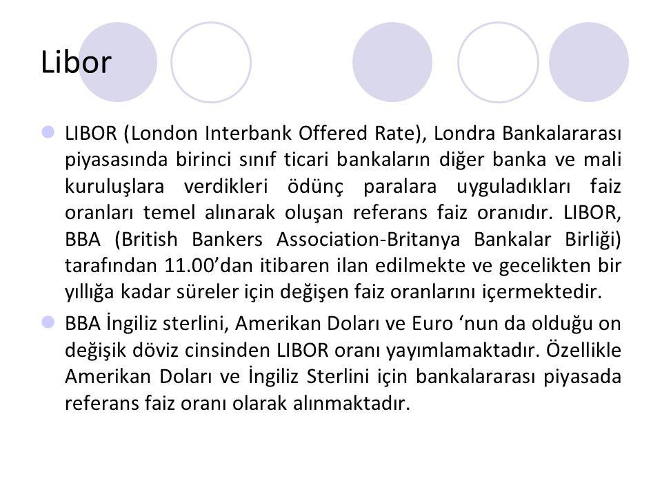 Libor LIBOR (London Interbank Offered Rate), Londra Bankalararası piyasasında birinci sınıf ticari bankaların diğer banka ve mali kuruluşlara verdikle