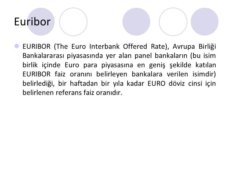 Euribor EURIBOR (The Euro Interbank Offered Rate), Avrupa Birliği Bankalararası piyasasında yer alan panel bankaların (bu isim birlik içinde Euro para