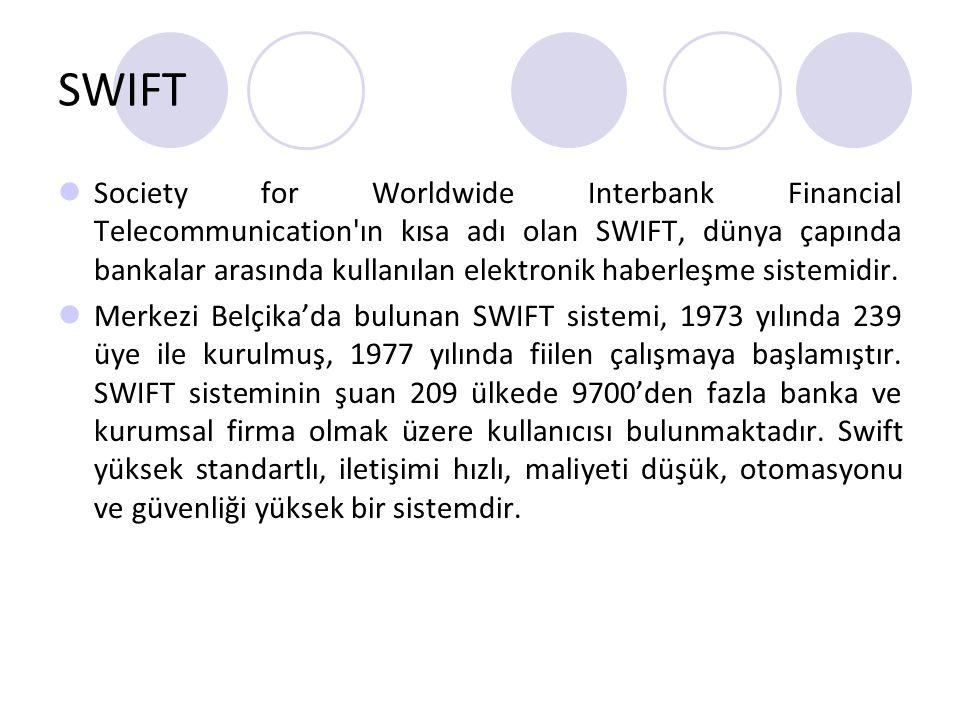 SWIFT Society for Worldwide Interbank Financial Telecommunication'ın kısa adı olan SWIFT, dünya çapında bankalar arasında kullanılan elektronik haberl