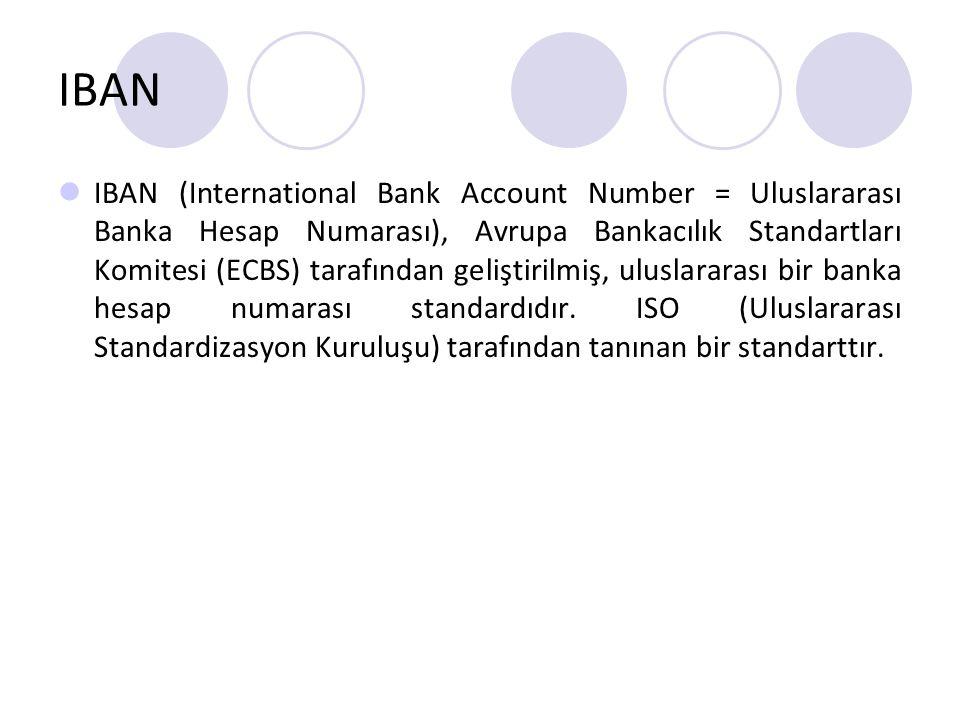 IBAN IBAN (International Bank Account Number = Uluslararası Banka Hesap Numarası), Avrupa Bankacılık Standartları Komitesi (ECBS) tarafından geliştiri