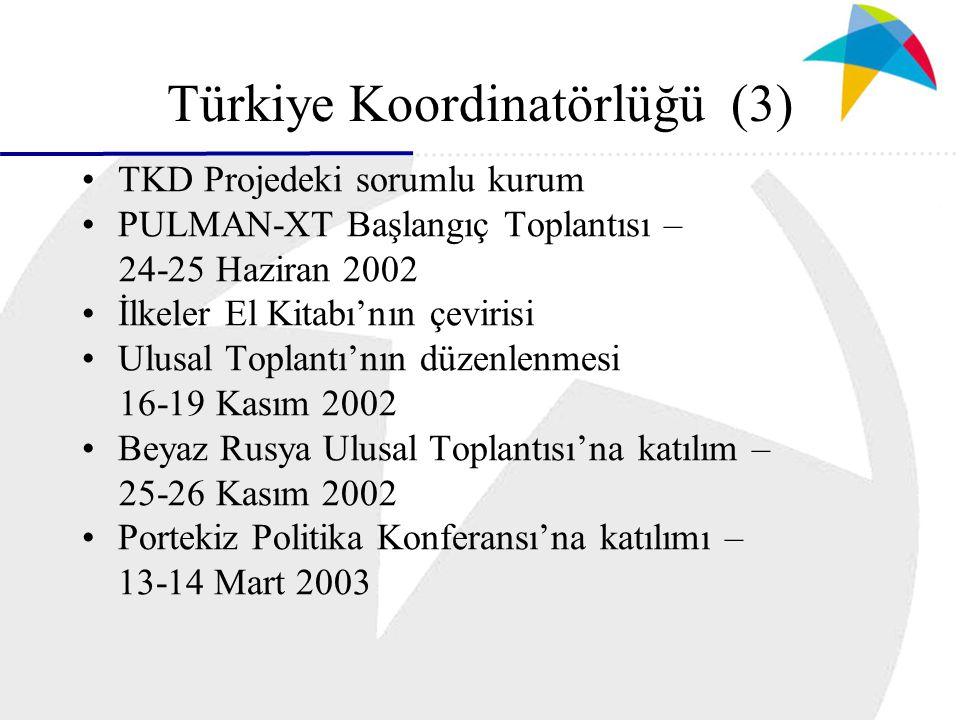 Türkiye Koordinatörlüğü (3) TKD Projedeki sorumlu kurum PULMAN-XT Başlangıç Toplantısı – 24-25 Haziran 2002 İlkeler El Kitabı'nın çevirisi Ulusal Toplantı'nın düzenlenmesi 16-19 Kasım 2002 Beyaz Rusya Ulusal Toplantısı'na katılım – 25-26 Kasım 2002 Portekiz Politika Konferansı'na katılımı – 13-14 Mart 2003
