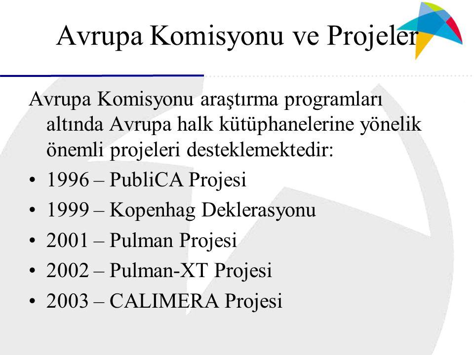 Avrupa Komisyonu ve Projeler Avrupa Komisyonu araştırma programları altında Avrupa halk kütüphanelerine yönelik önemli projeleri desteklemektedir: 1996 – PubliCA Projesi 1999 – Kopenhag Deklerasyonu 2001 – Pulman Projesi 2002 – Pulman-XT Projesi 2003 – CALIMERA Projesi
