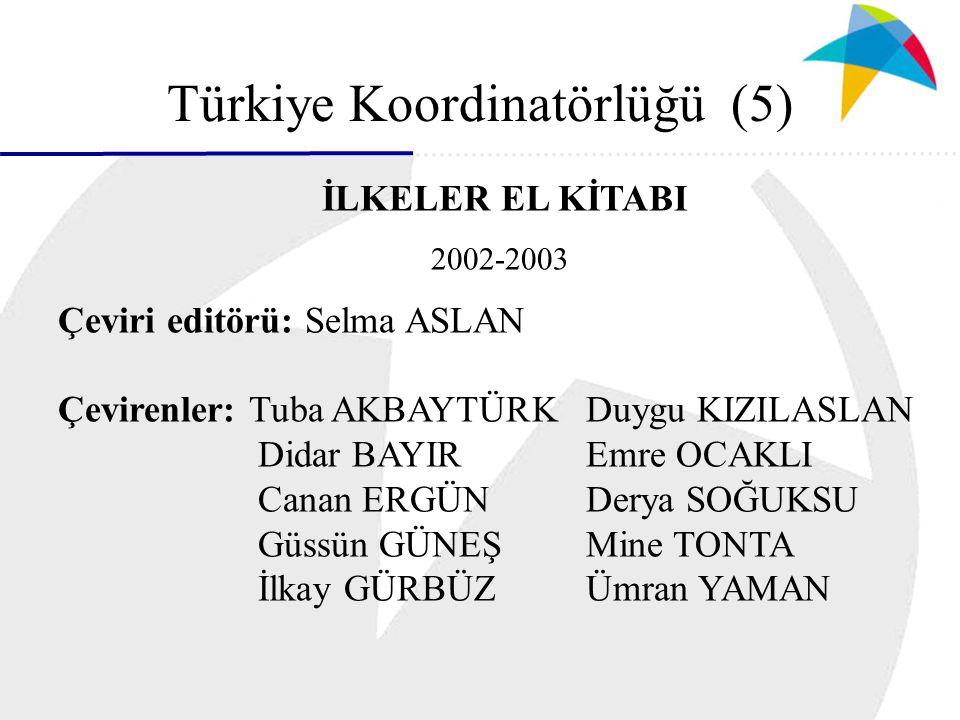Türkiye Koordinatörlüğü (5) ) İLKELER EL KİTABI 2002-2003 Çeviri editörü: Selma ASLAN Çevirenler: Tuba AKBAYTÜRKDuygu KIZILASLAN Didar BAYIREmre OCAKLI Canan ERGÜNDerya SOĞUKSU Güssün GÜNEŞMine TONTA İlkay GÜRBÜZÜmran YAMAN