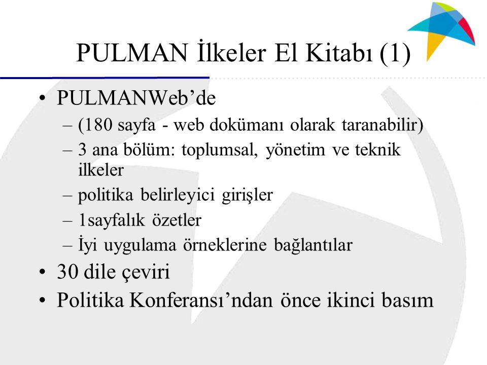 PULMAN İlkeler El Kitabı (1) PULMANWeb'de –(180 sayfa - web dokümanı olarak taranabilir) –3 ana bölüm: toplumsal, yönetim ve teknik ilkeler –politika belirleyici girişler –1sayfalık özetler –İyi uygulama örneklerine bağlantılar 30 dile çeviri Politika Konferansı'ndan önce ikinci basım