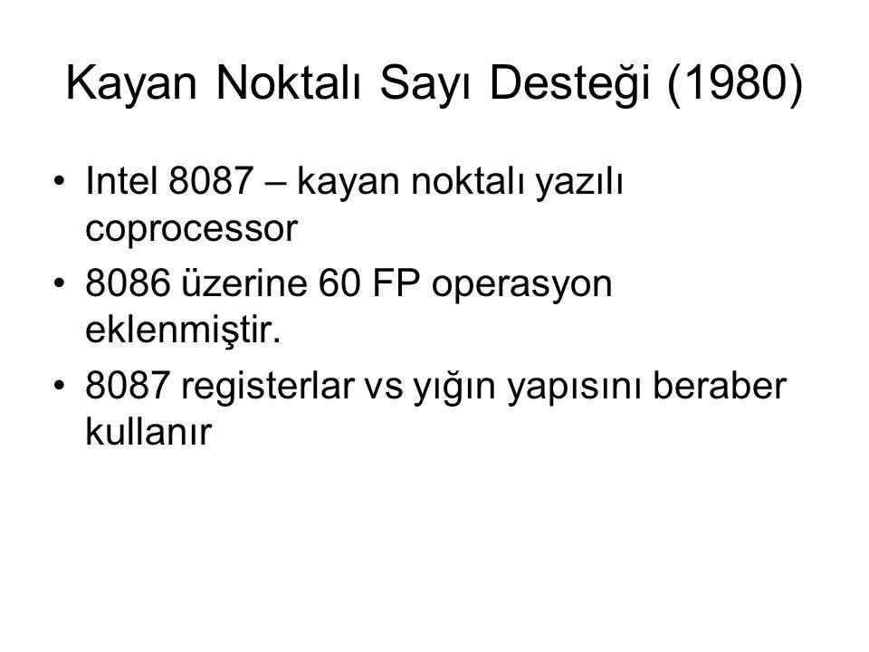 Kayan Noktalı Sayı Desteği (1980) Intel 8087 – kayan noktalı yazılı coprocessor 8086 üzerine 60 FP operasyon eklenmiştir. 8087 registerlar vs yığın ya