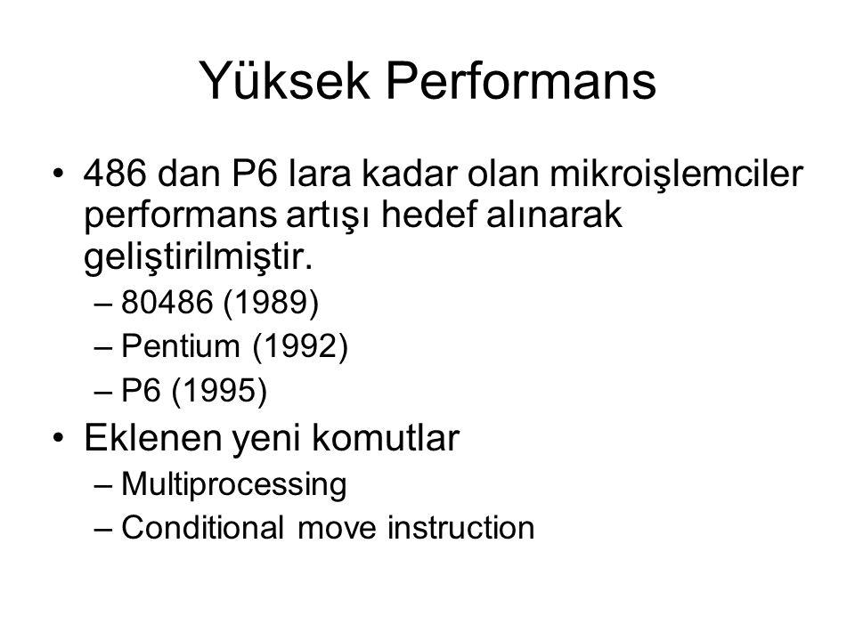 Yüksek Performans 486 dan P6 lara kadar olan mikroişlemciler performans artışı hedef alınarak geliştirilmiştir. –80486 (1989) –Pentium (1992) –P6 (199