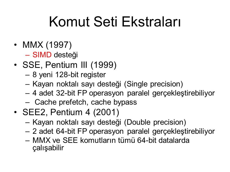 Komut Seti Ekstraları MMX (1997) –SIMD desteği SSE, Pentium III (1999) –8 yeni 128-bit register –Kayan noktalı sayı desteği (Single precision) –4 adet