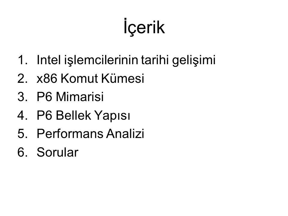İçerik 1.Intel işlemcilerinin tarihi gelişimi 2.x86 Komut Kümesi 3.P6 Mimarisi 4.P6 Bellek Yapısı 5.Performans Analizi 6.Sorular