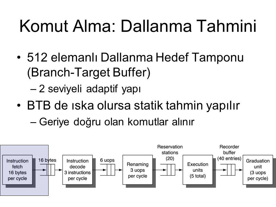 Komut Alma: Dallanma Tahmini 512 elemanlı Dallanma Hedef Tamponu (Branch-Target Buffer) –2 seviyeli adaptif yapı BTB de ıska olursa statik tahmin yapı