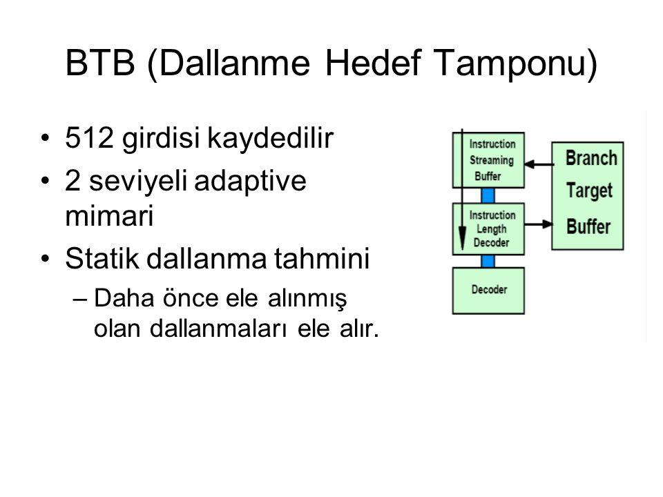 BTB (Dallanme Hedef Tamponu) 512 girdisi kaydedilir 2 seviyeli adaptive mimari Statik dallanma tahmini –Daha önce ele alınmış olan dallanmaları ele al