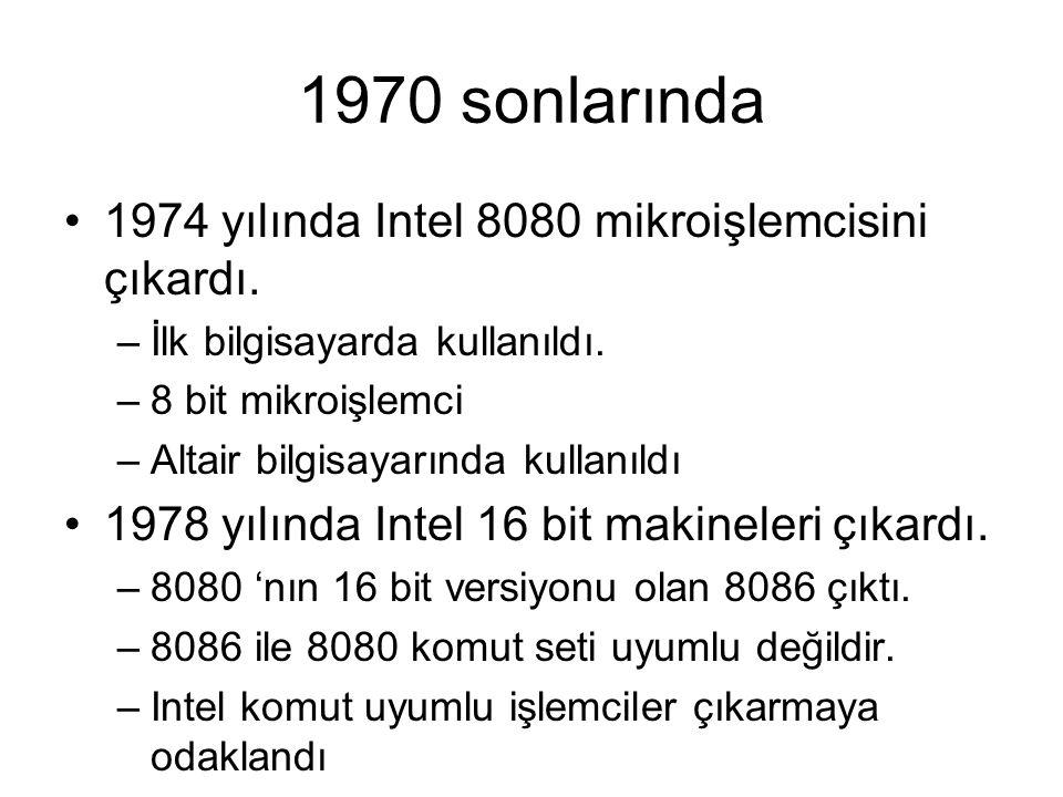 1970 sonlarında 1974 yılında Intel 8080 mikroişlemcisini çıkardı. –İlk bilgisayarda kullanıldı. –8 bit mikroişlemci –Altair bilgisayarında kullanıldı