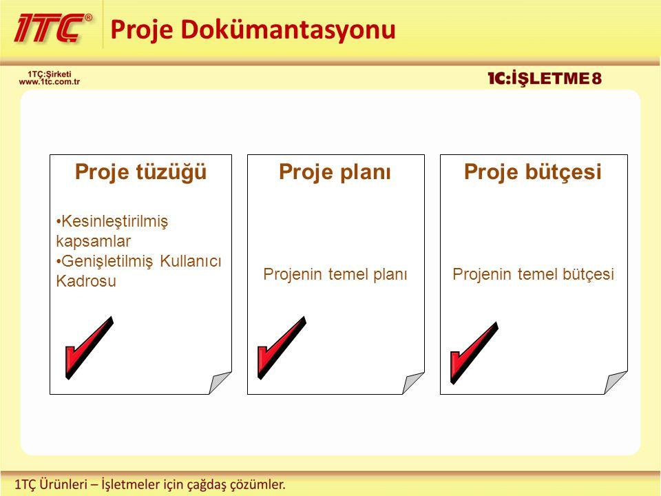 Proje Dokümantasyonu Proje tüzüğü Kesinleştirilmiş kapsamlar Genişletilmiş Kullanıcı Kadrosu Proje planı Projenin temel planı Proje bütçesi Projenin temel bütçesi