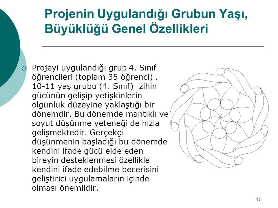 16 Projenin Uygulandığı Grubun Yaşı, Büyüklüğü Genel Özellikleri  Projeyi uygulandığı grup 4.