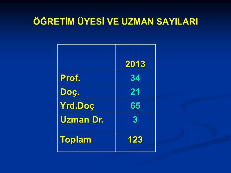ÖĞRETİM ÜYESİ VE UZMAN SAYILARI 2013 Prof.34 Doç.21 Yrd.Doç65 Uzman Dr. 3 Toplam123
