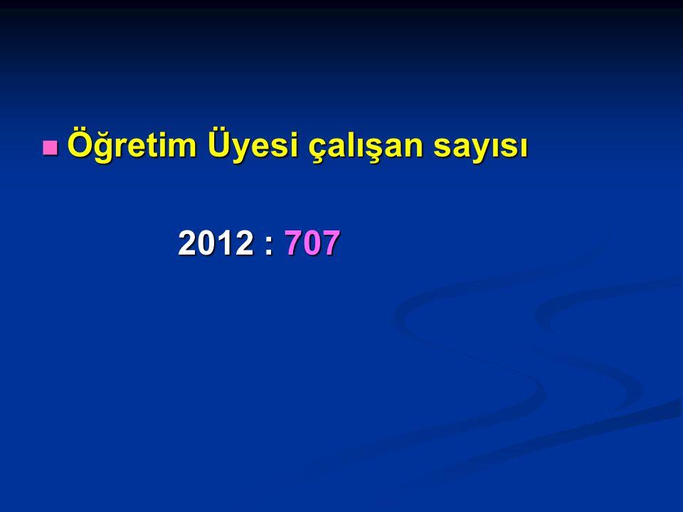 Öğretim Üyesi çalışan sayısı Öğretim Üyesi çalışan sayısı 2012 : 707