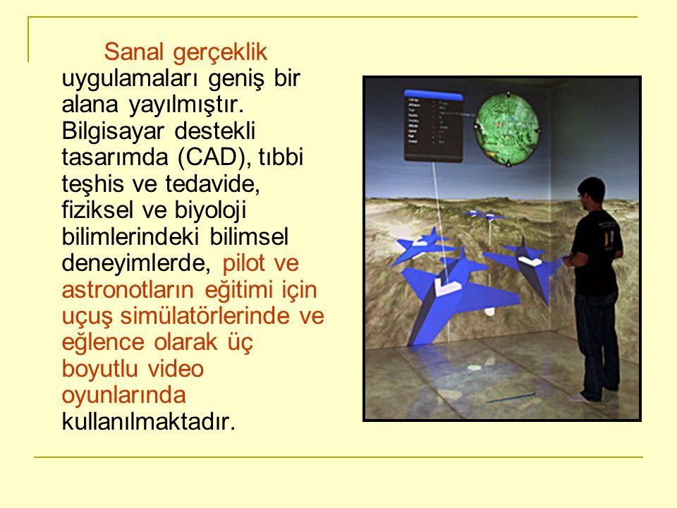 Sanal gerçeklik uygulamaları geniş bir alana yayılmıştır. Bilgisayar destekli tasarımda (CAD), tıbbi teşhis ve tedavide, fiziksel ve biyoloji bilimler