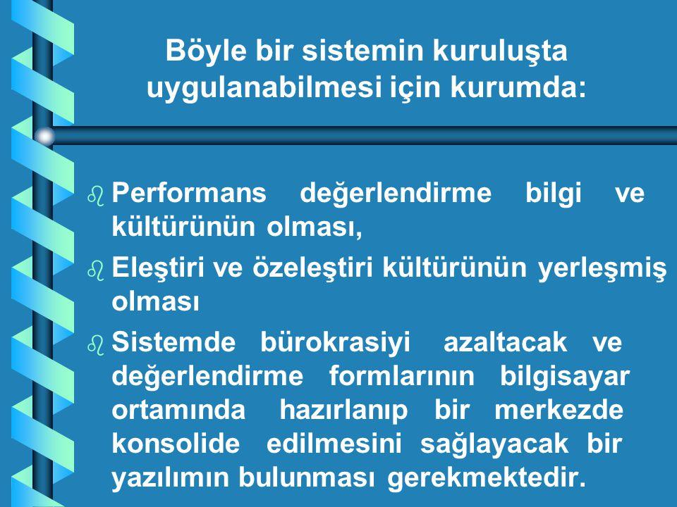 b b Performans değerlendirme bilgi ve kültürünün olması, b b Eleştiri ve özeleştiri kültürünün yerleşmiş olması b b Sistemde bürokrasiyi azaltacak ve