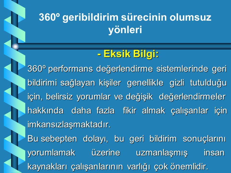 - Eksik Bilgi: 360º performans değerlendirme sistemlerinde geri bildirimi sağlayan kişiler genellikle gizli tutulduğu için, belirsiz yorumlar ve değiş
