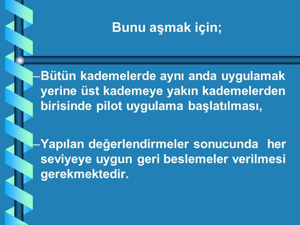 – –Bütün kademelerde aynı anda uygulamak yerine üst kademeye yakın kademelerden birisinde pilot uygulama başlatılması, – –Yapılan değerlendirmeler son