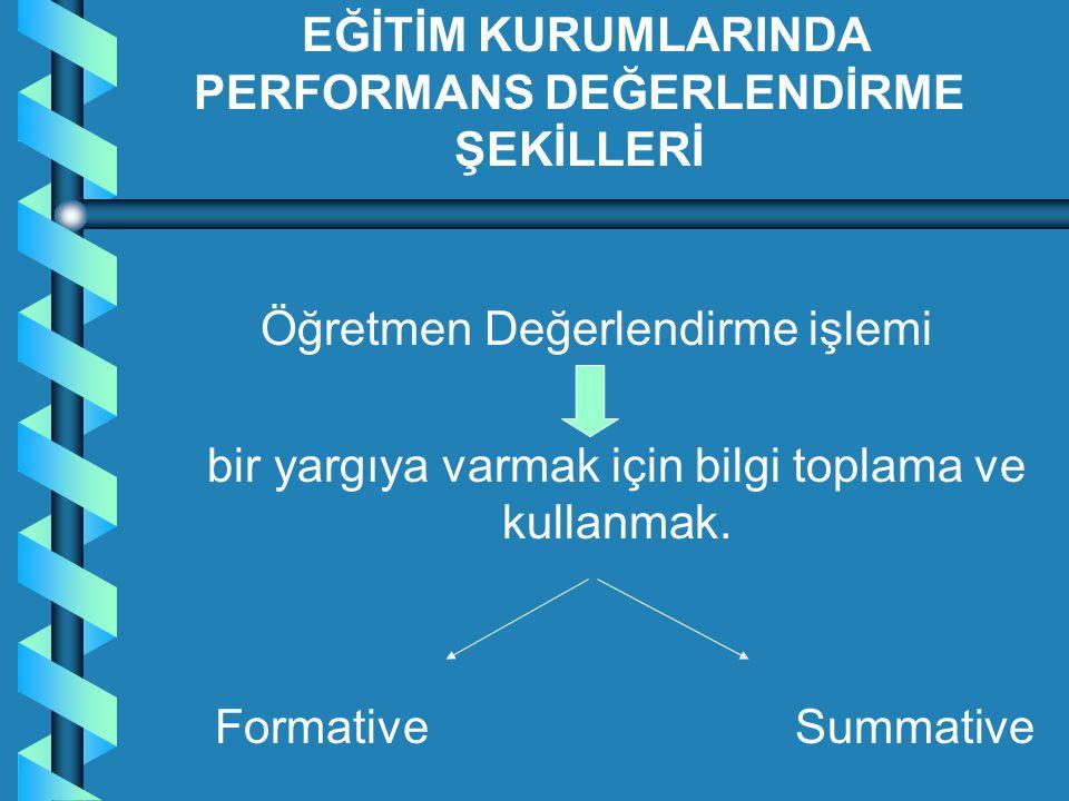 Öğretmen Değerlendirme işlemi bir yargıya varmak için bilgi toplama ve kullanmak. Formative Summative EĞİTİM KURUMLARINDA PERFORMANS DEĞERLENDİRME ŞEK