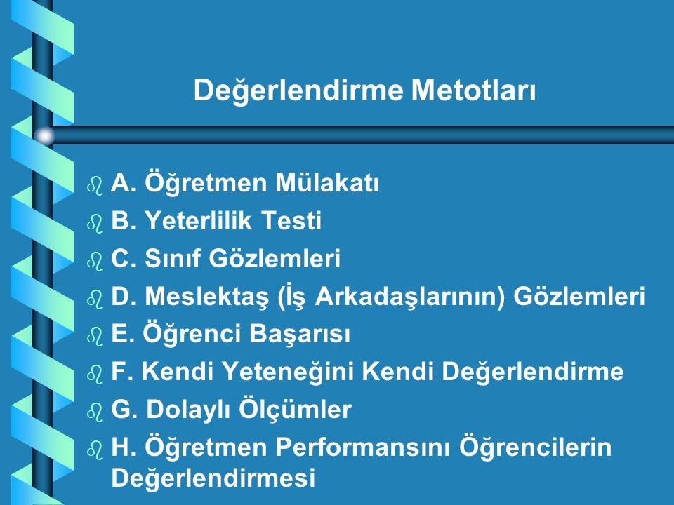 b b A. Öğretmen Mülakatı b b B. Yeterlilik Testi b b C. Sınıf Gözlemleri b b D. Meslektaş (İş Arkadaşlarının) Gözlemleri b b E. Öğrenci Başarısı b b F