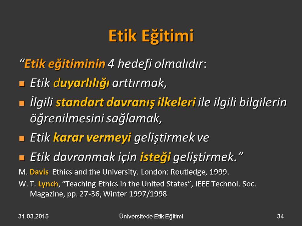 """Etik Eğitimi """"Etik eğitiminin 4 hedefi olmalıdır: Etik duyarlılığı arttırmak, Etik duyarlılığı arttırmak, İlgili standart davranış ilkeleri ile ilgili"""