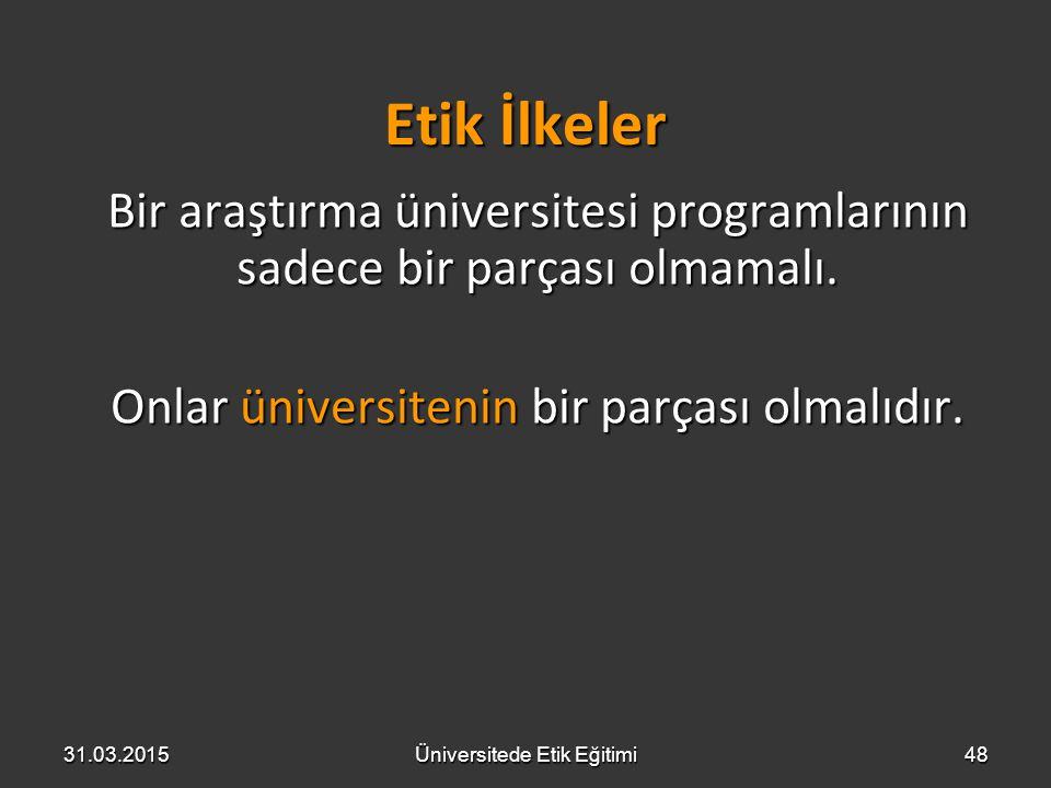 Etik İlkeler Bir araştırma üniversitesi programlarının sadece bir parçası olmamalı. Onlar üniversitenin bir parçası olmalıdır. 31.03.2015Üniversitede