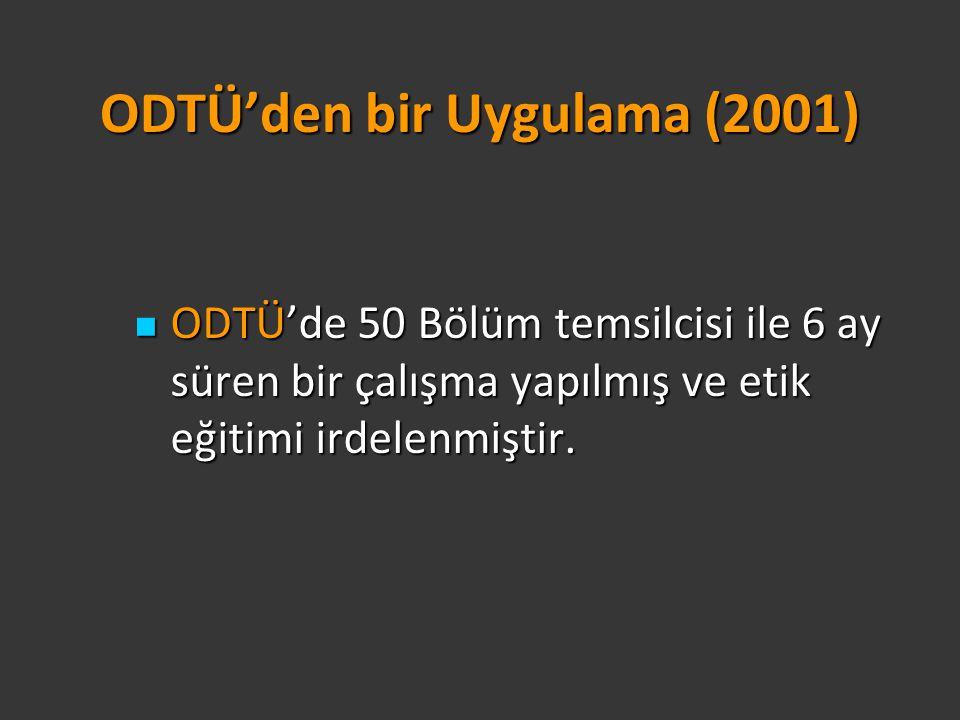ODTÜ'den bir Uygulama (2001) ODTÜ'de 50 Bölüm temsilcisi ile 6 ay süren bir çalışma yapılmış ve etik eğitimi irdelenmiştir. ODTÜ'de 50 Bölüm temsilcis