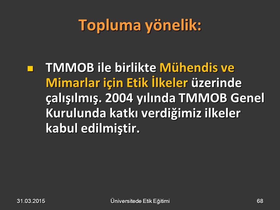 68 Topluma yönelik: TMMOB ile birlikte Mühendis ve Mimarlar için Etik İlkeler üzerinde çalışılmış. 2004 yılında TMMOB Genel Kurulunda katkı verdiğimiz