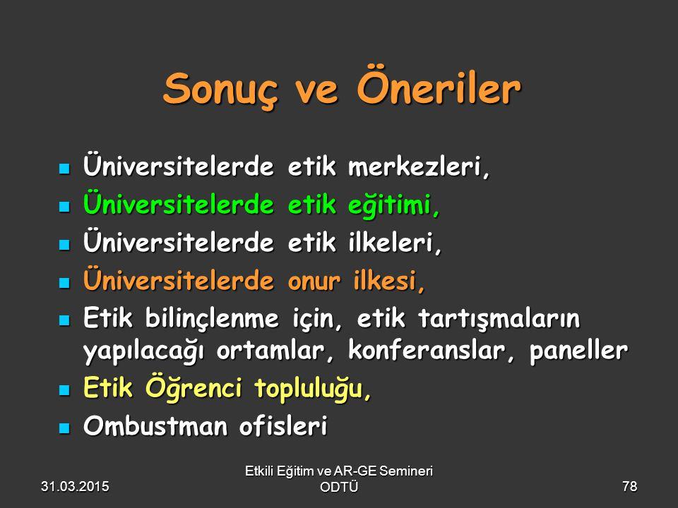 Etkili Eğitim ve AR-GE Semineri ODTÜ78 Sonuç ve Öneriler Üniversitelerde etik merkezleri, Üniversitelerde etik merkezleri, Üniversitelerde etik eğitim