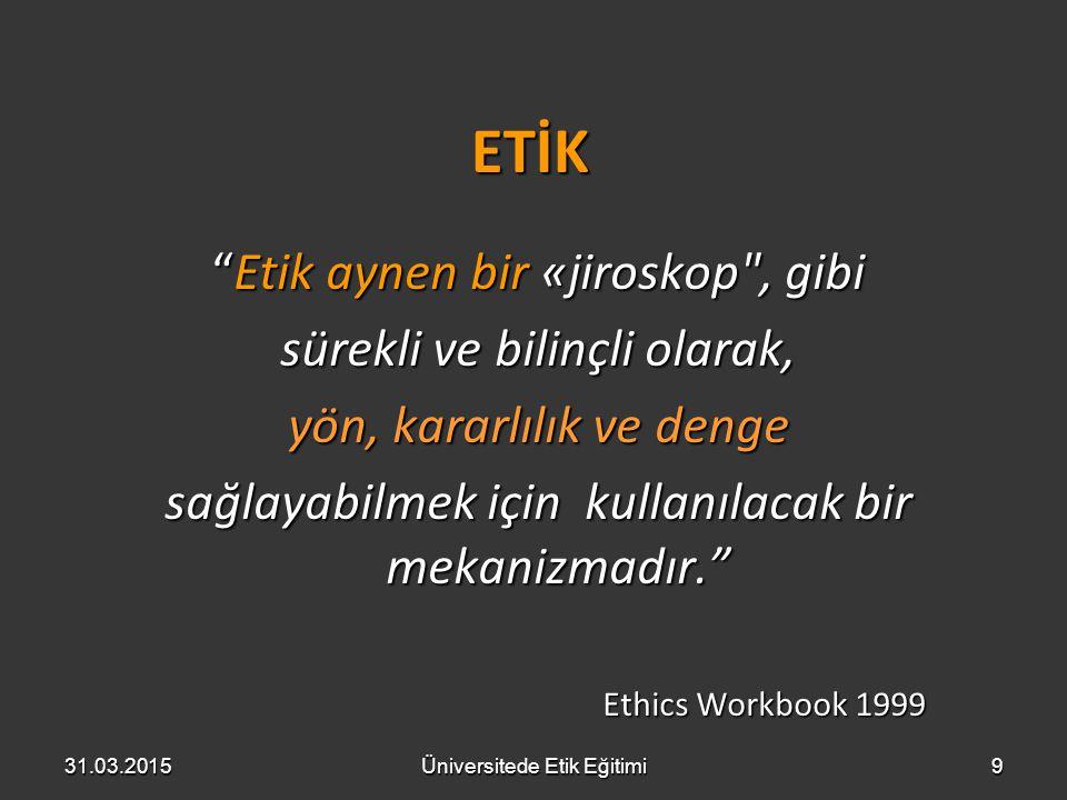 Etik Davranış etik davranış kişisel-ilgi ile grup sorumluluğu arasındaki dengedir ve öğrenilebilir... Anthony Tiatorio http://www.ethicsineducation.com/ Anthony Tiatorio http://www.ethicsineducation.com/http://www.ethicsineducation.com/ 31.03.2015Üniversitede Etik Eğitimi40