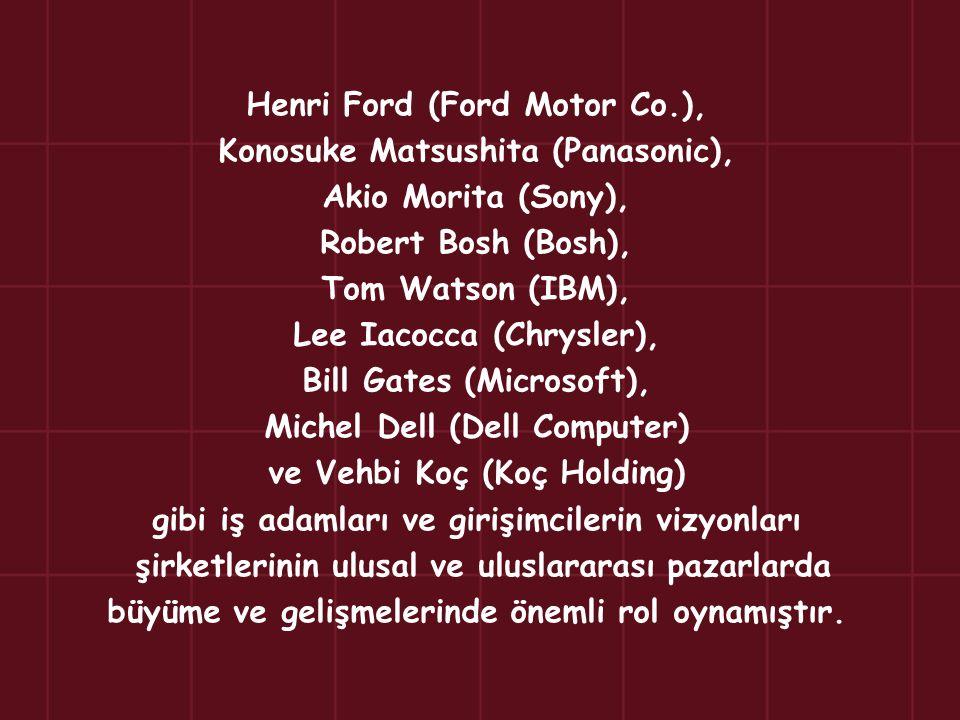 Henri Ford (Ford Motor Co.), Konosuke Matsushita (Panasonic), Akio Morita (Sony), Robert Bosh (Bosh), Tom Watson (IBM), Lee Iacocca (Chrysler), Bill G