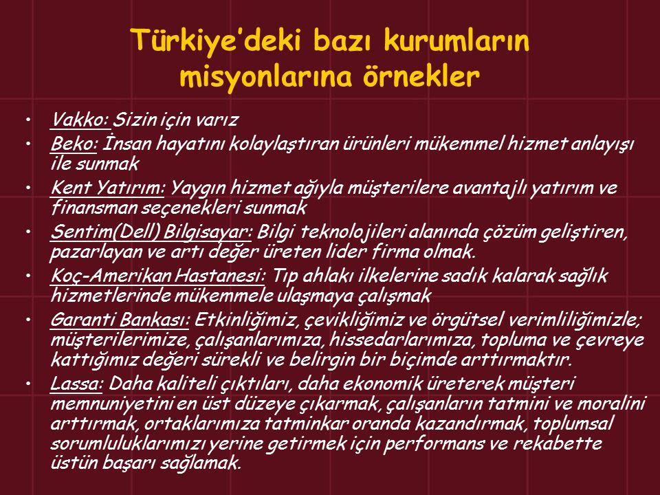 Türkiye'deki bazı kurumların misyonlarına örnekler Vakko: Sizin için varız Beko: İnsan hayatını kolaylaştıran ürünleri mükemmel hizmet anlayışı ile su