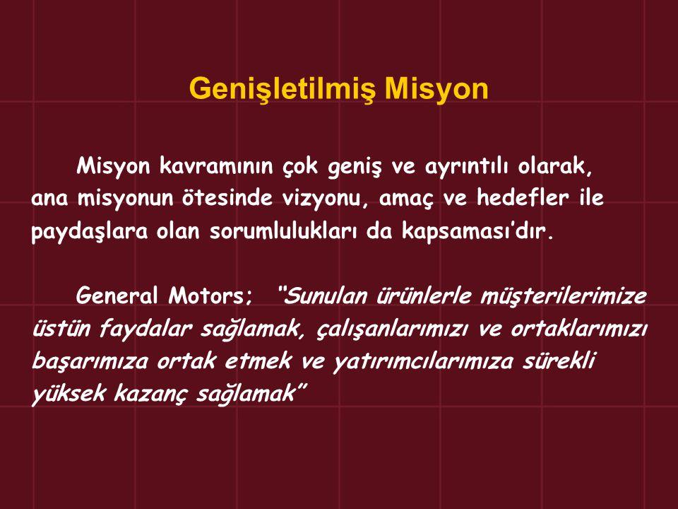 Genişletilmiş Misyon Misyon kavramının çok geniş ve ayrıntılı olarak, ana misyonun ötesinde vizyonu, amaç ve hedefler ile paydaşlara olan sorumlulukla