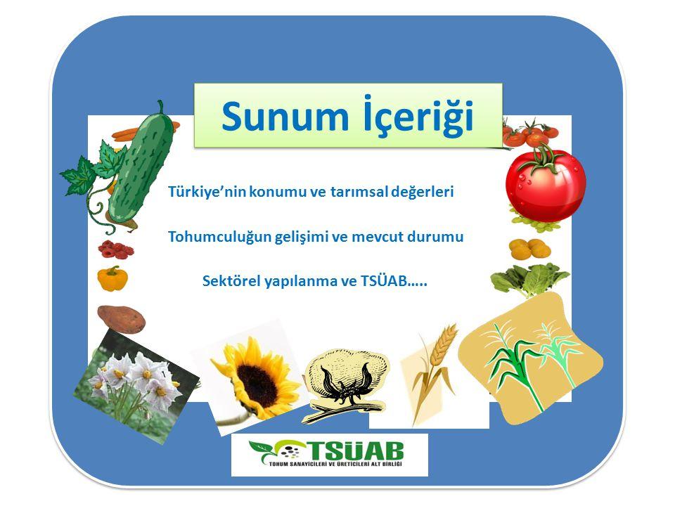 Sunum İçeriği Türkiye'nin konumu ve tarımsal değerleri Tohumculuğun gelişimi ve mevcut durumu Sektörel yapılanma ve TSÜAB…..