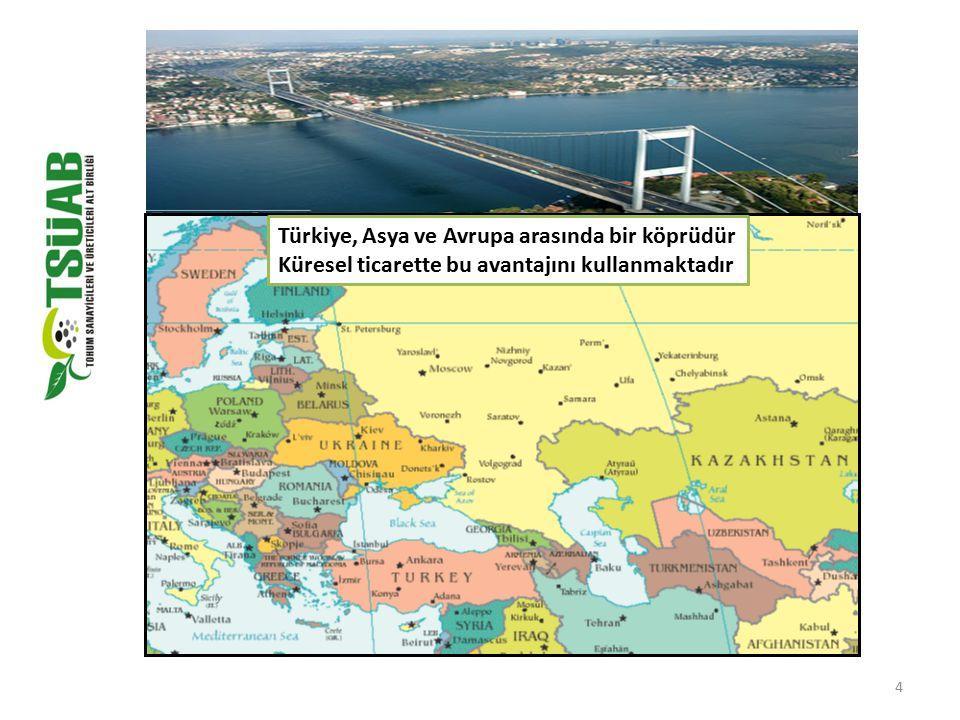 4 Türkiye, Asya ve Avrupa arasında bir köprüdür Küresel ticarette bu avantajını kullanmaktadır