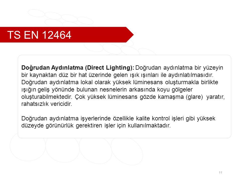 TS EN 12464 11 Doğrudan Aydınlatma (Direct Lighting): Doğrudan aydınlatma bir yüzeyin bir kaynaktan düz bir hat üzerinde gelen ışık ışınları ile aydınlatılmasıdır.