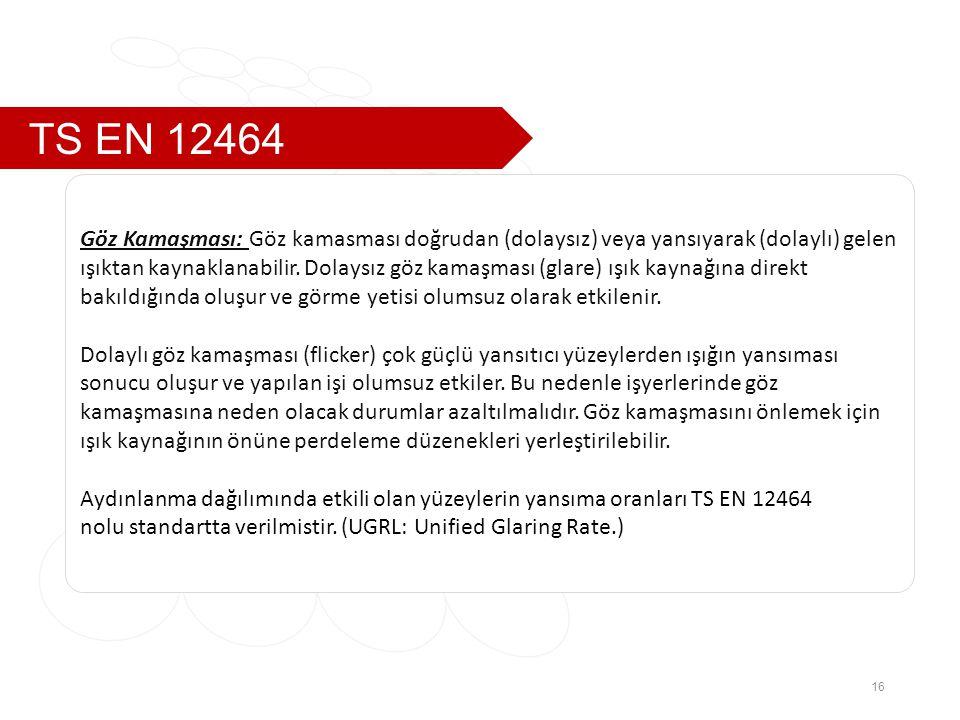 TS EN 12464 16 Göz Kamaşması: Göz kamasması doğrudan (dolaysız) veya yansıyarak (dolaylı) gelen ışıktan kaynaklanabilir.