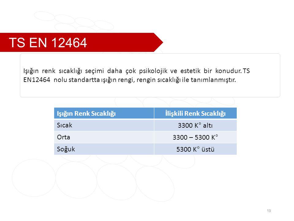 TS EN 12464 19 Işığın renk sıcaklığı seçimi daha çok psikolojik ve estetik bir konudur.