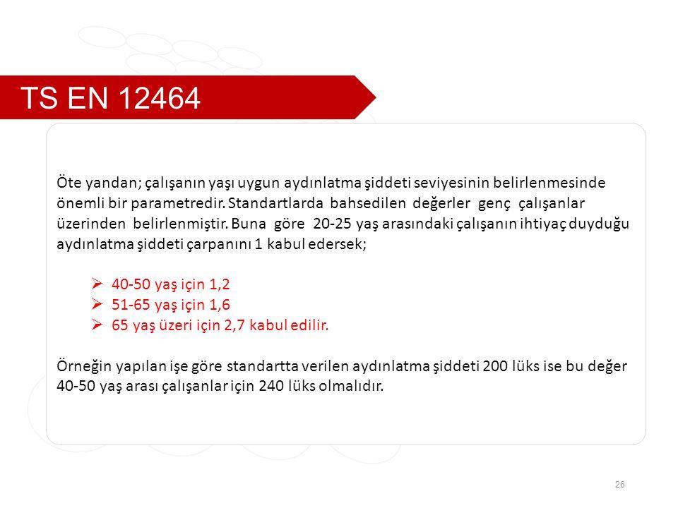 TS EN 12464 26 Öte yandan; çalışanın yaşı uygun aydınlatma şiddeti seviyesinin belirlenmesinde önemli bir parametredir.