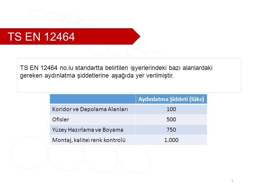 TS EN 12464 7 TS EN 12464 no.lu standartta belirtilen işyerlerindeki bazı alanlardaki gereken aydınlatma şiddetlerine aşağıda yer verilmiştir.