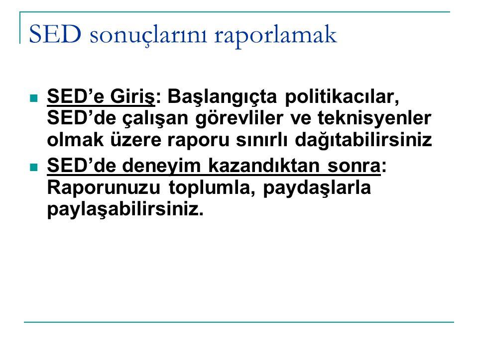 SED sonuçlarını raporlamak SED'e Giriş: Başlangıçta politikacılar, SED'de çalışan görevliler ve teknisyenler olmak üzere raporu sınırlı dağıtabilirsiniz SED'de deneyim kazandıktan sonra: Raporunuzu toplumla, paydaşlarla paylaşabilirsiniz.