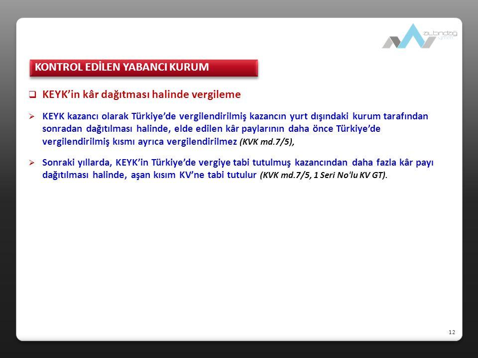  KEYK'in kâr dağıtması halinde vergileme  KEYK kazancı olarak Türkiye'de vergilendirilmiş kazancın yurt dışındaki kurum tarafından sonradan dağıtılm