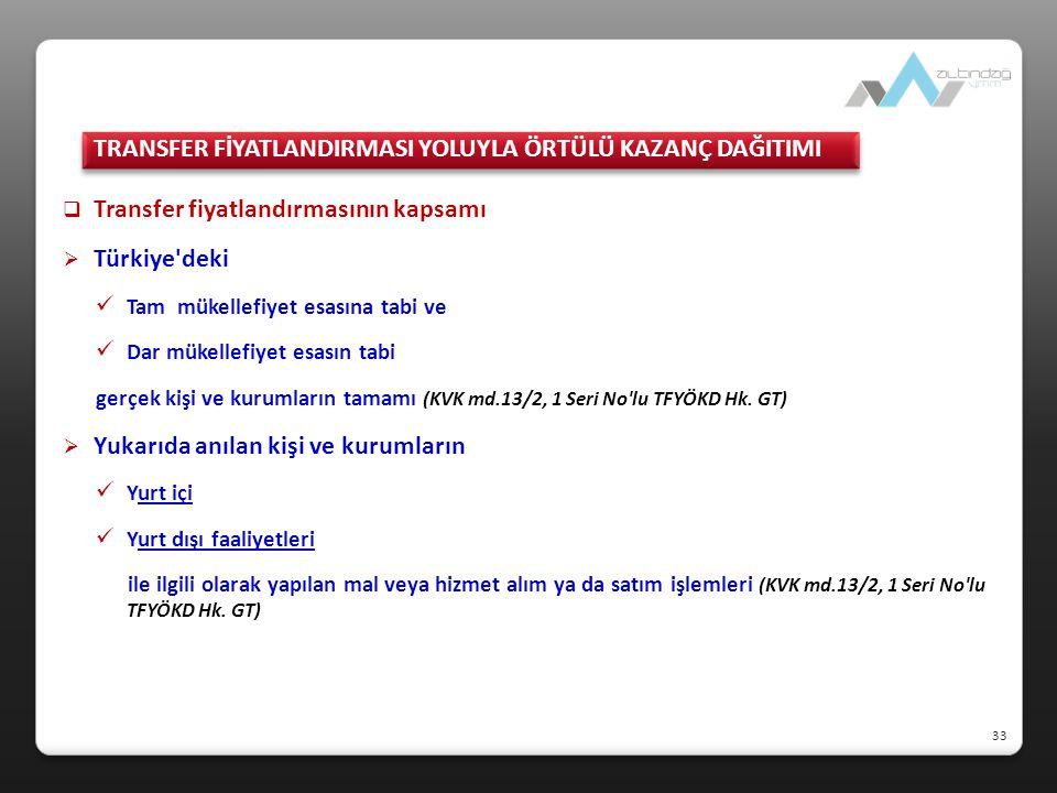  Transfer fiyatlandırmasının kapsamı  Türkiye'deki Tam mükellefiyet esasına tabi ve Dar mükellefiyet esasın tabi gerçek kişi ve kurumların tamamı (K