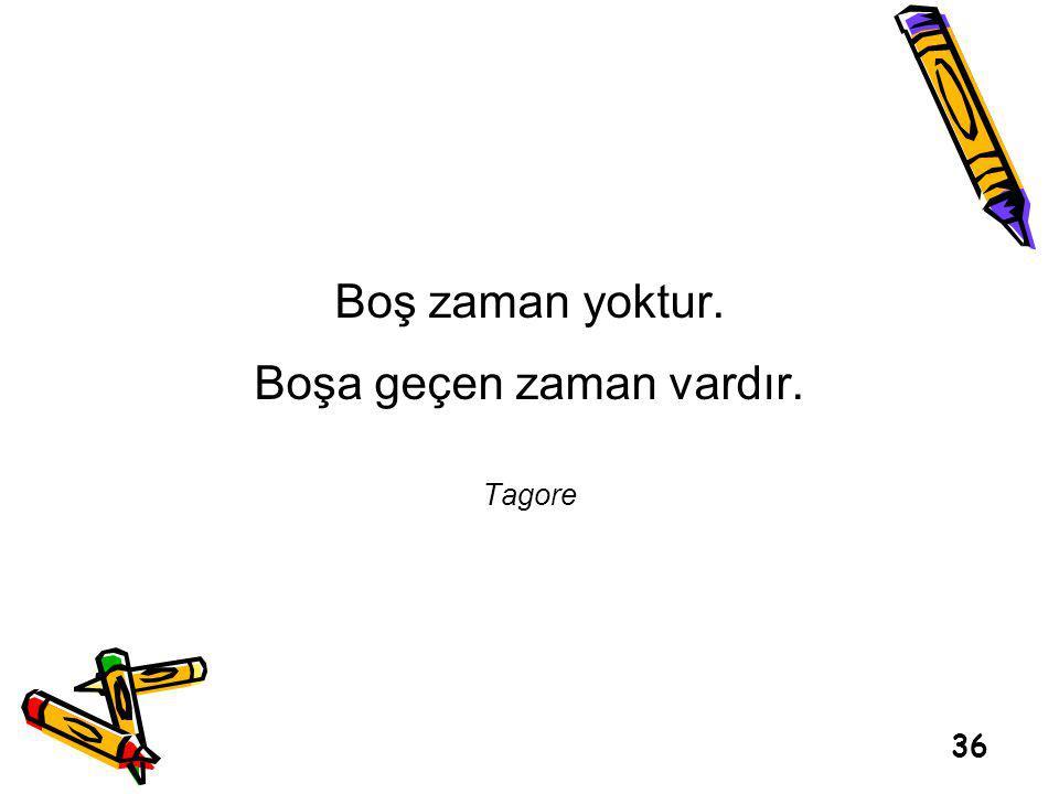 Boş zaman yoktur. Boşa geçen zaman vardır. Tagore 36